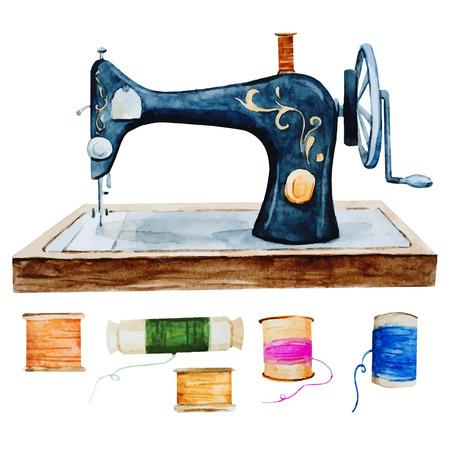 maquina de coser: Hermosa imagen con buena acuarela retro m�quina de coser de la vendimia Vectores