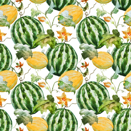 rich in vitamins: Beautiful vector pattern with nice watercolor watermelons Illustration