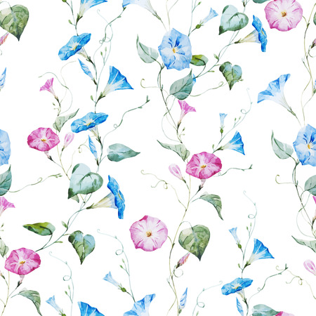 Beautiful vector pattern with gentle watercolor flowers