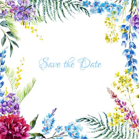素敵な水彩画の花のフレームの美しいベクター画像 写真素材 - 41907419