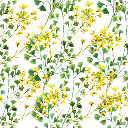 Beautiful vector pattern with nice watercolor flowers Ilustração