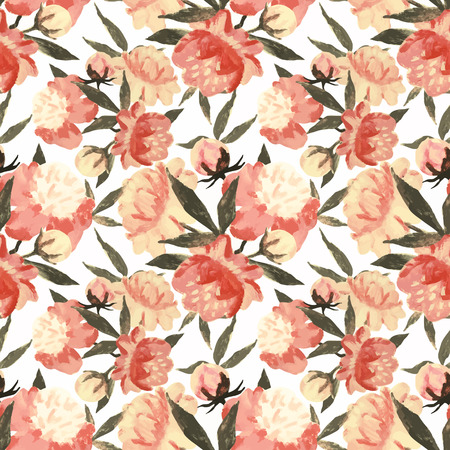 Beautiful vector pattern with nice watercolor flowers Stock Illustratie