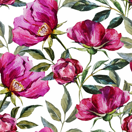 Beautiful vector pattern with nice watercolor flowers  イラスト・ベクター素材