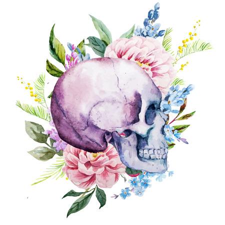 calaveras: Imagen hermosa del vector con buen cráneo de la acuarela con las flores Vectores