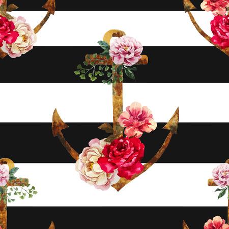 fashion: Schöne Vektor-Muster mit netten Aquarell Anker Illustration