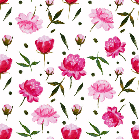 vintage flower: Beautiful vector pattern with nice watercolor flowers Illustration