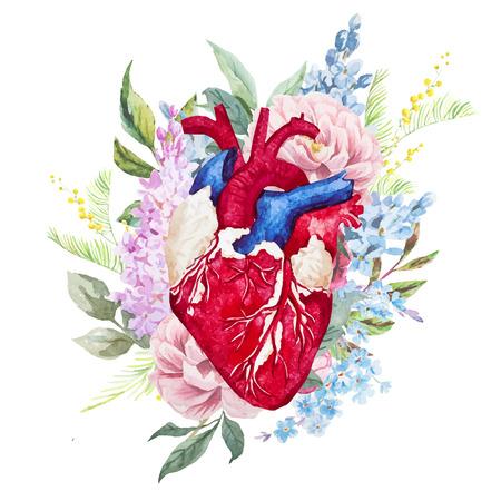 tatouage fleur: Belle image vectorielle avec joli coeur d'aquarelle avec des fleurs