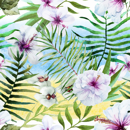 tropical flowers: Beautiful vector pattern with nice watercolor tropical flowers Illustration