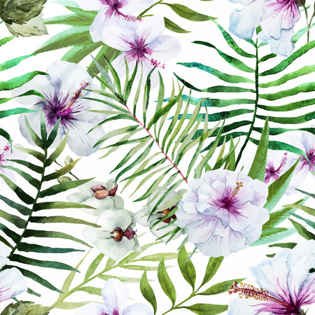 exotic fruits: Beautiful vector pattern with nice watercolor tropical flowers Illustration