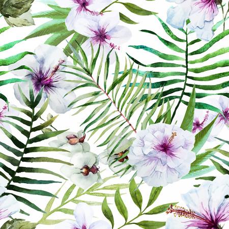 Krásné vektoru vzor s pěkný akvarel tropických květin