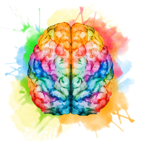brain: Beautiful vector image with nice watercolor brain