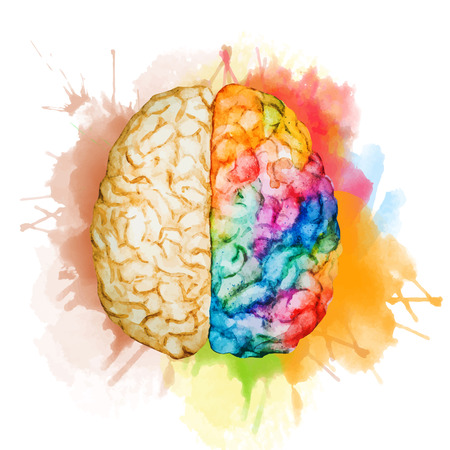 left right: Beautiful vector image with nice watercolor brain