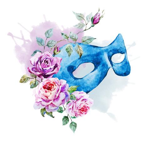 Beautiful vector image with nice watercolor venecian mask