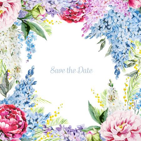 fiori di lavanda: Bella immagine di vettore con bel acquerello cornice floreale Vettoriali