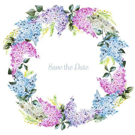좋은 수채화 꽃 화환과 함께 아름 다운 벡터 이미지 일러스트