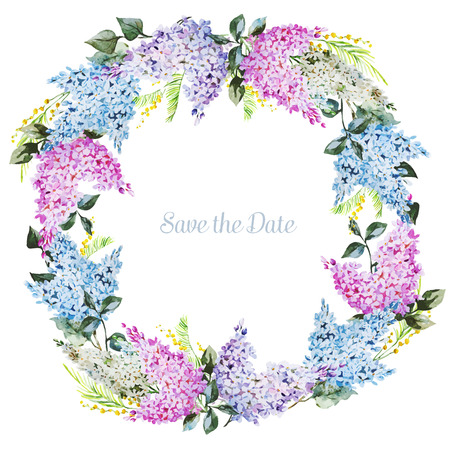 Beautiful vector image with nice watercolor floral wreath Stock fotó - 41907619