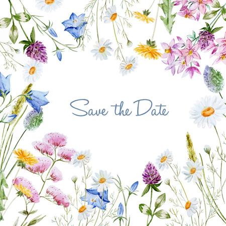 flor de lavanda: Imagen hermosa del vector con el marco floral bonita acuarela Vectores