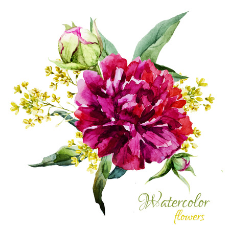 plums: Beautiful vector image with nice watercolor summer flowers