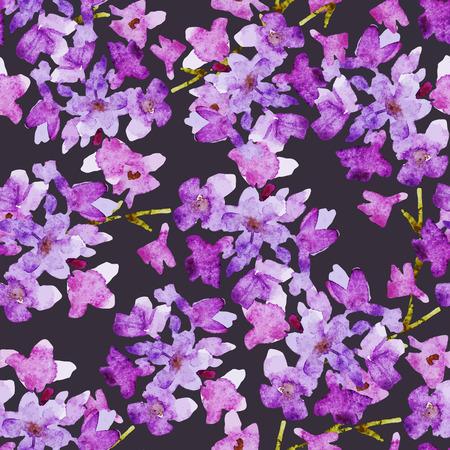 purple flower: Beautiful pattern with nice watercolor flowers