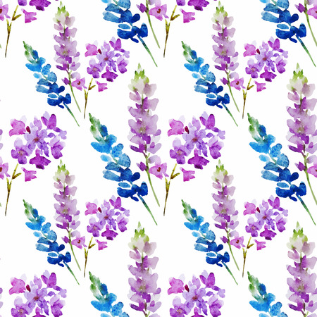 branches with leaves: Beautiful pattern with nice watercolor flowers