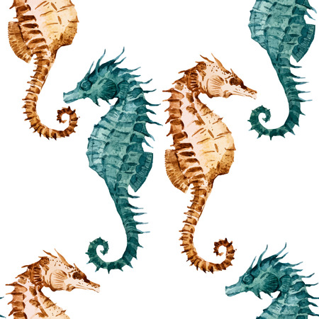 consecutive: Beautiful pattern with nice watercolor seahorses