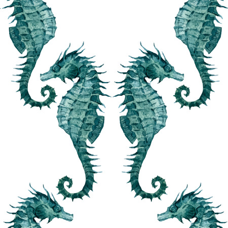 Beautiful pattern with nice watercolor seahorses