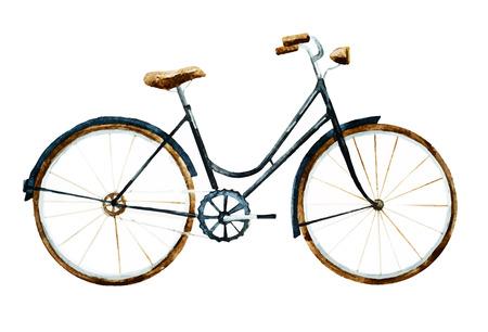 좋은 수채화 자전거와 함께 아름 다운 이미지 일러스트