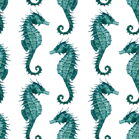 blue sea: Beautiful pattern with nice watercolor seahorses
