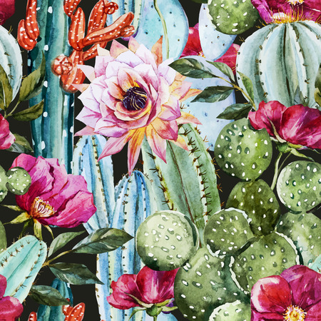 Beautiful image with nice watercolor cactus Ilustracja