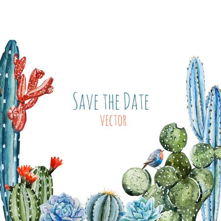 sol radiante: Hermosa imagen con marco de cactus de la acuarela