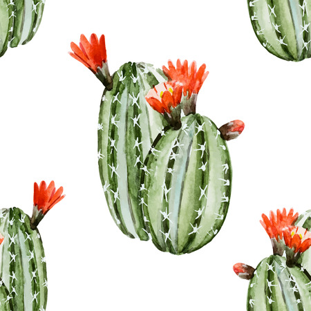 Beautiful image with nice watercolor cactus Çizim