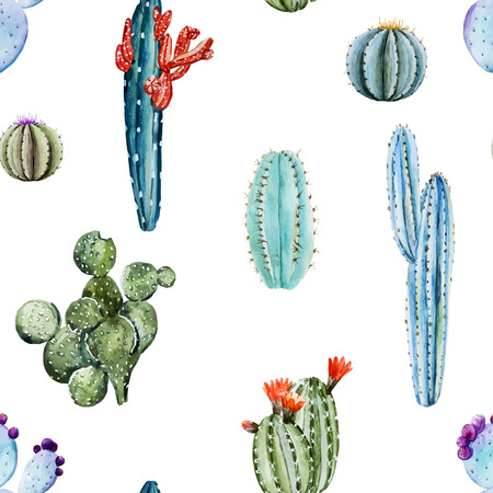 Beautiful image with nice watercolor cactus Illusztráció