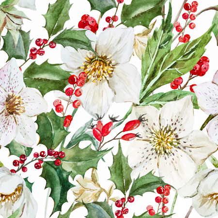 Beautiful pattern with nice watercolor Christmas flowers Ilustração