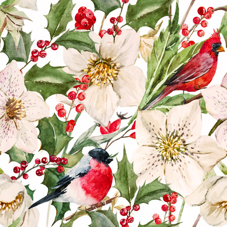 Beautiful pattern with nice watercolor Christmas flowers 일러스트
