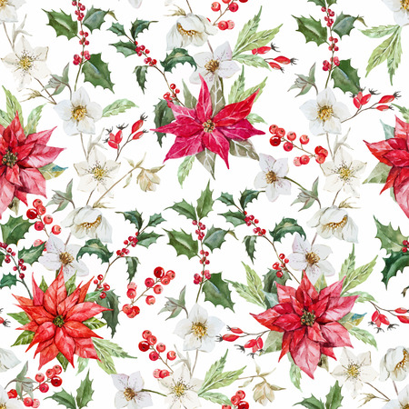 winter garden: Beautiful pattern with nice watercolor christmas flowers