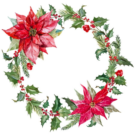 Beautiful image with nice watercolor christmas wreath 版權商用圖片 - 42715425