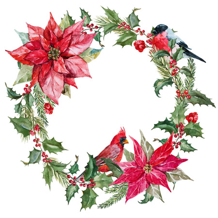 holly day: Beautiful image with nice watercolor christmas wreath