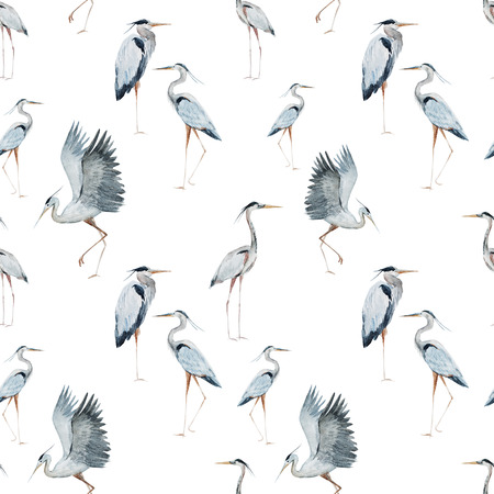 blue heron: Beautiful pattern with nice watercolor herons
