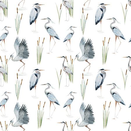 Mooi patroon met mooie aquarel reigers Vector Illustratie
