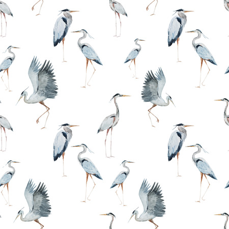 famous painting: Beautiful pattern with nice watercolor herons
