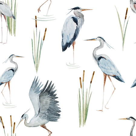 Beautiful pattern with nice watercolor herons