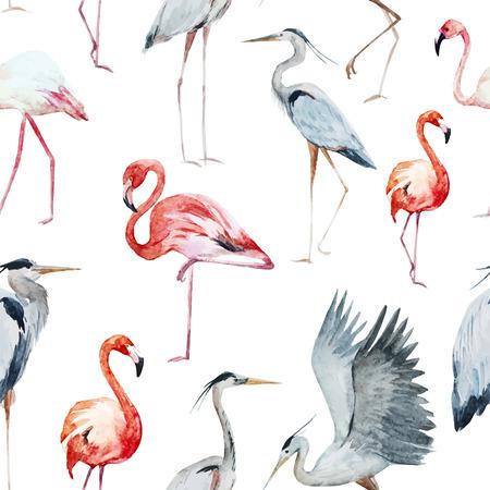 素敵な水彩画とフラミンゴ、サギの鳥の美しいパターン 写真素材 - 42715430