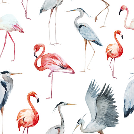 Mooi patroon met mooie aquarel en flamingo en de reiger vogels Stockfoto - 42715430