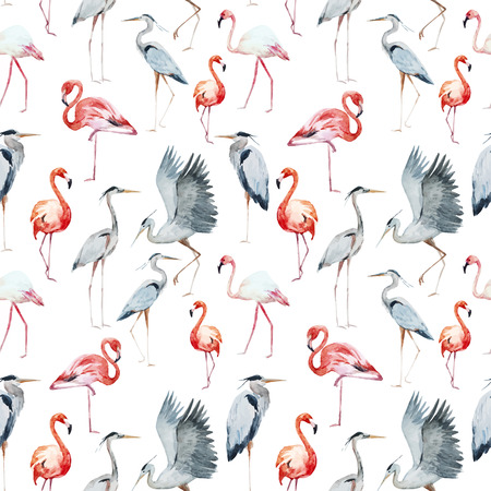 birds: Beautiful pattern with nice watercolor and flamingo and heron birds