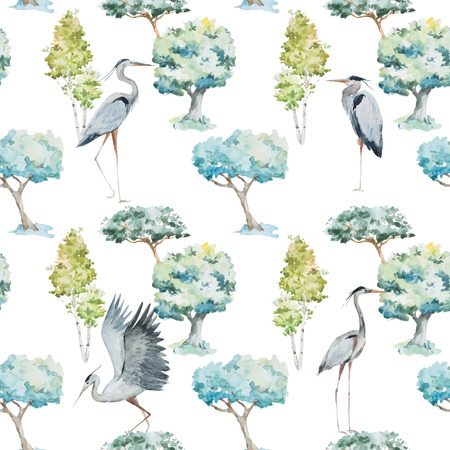 blue heron: Beautiful pattern with watercolor herons and trees