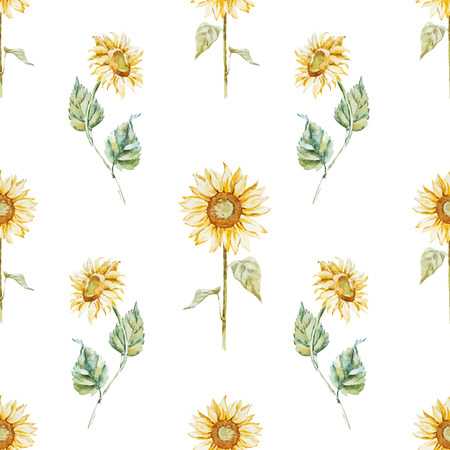 Beautiful pattern with nice watercolor sunflowers
