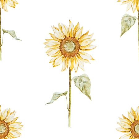 素敵な水彩画のヒマワリと美しいパターン  イラスト・ベクター素材