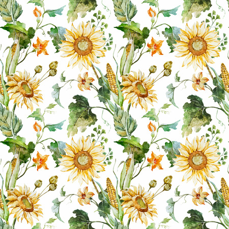 Beautiful vector pattern with nice watercolor sunflowers Banco de Imagens - 44079912