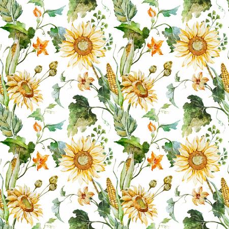 Schöne Vektor-Muster mit netten Aquarellsonnenblumen Standard-Bild - 44079912