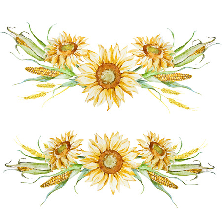 sunflower drawing: Beautiful vector image with nice watercolor autumn floral arrangement Illustration